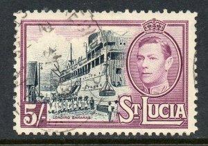 St Lucia 1938 KGVI 5/- Lady Hawkings ship SG 137 used