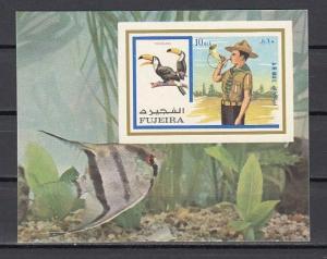 Fujeira, Mi cat. 1018, BL107 B. Scout & Birds, IMPERF s/sheet. *