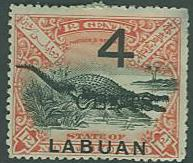 Labuan SC#90 Saltwater Crocodile surcharged, 5c on 12c, MH