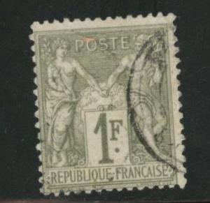 France Scott 76 used 1876 type 1 1fr peace & commerce CV$11
