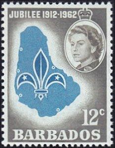 Barbados # 255 mnh ~ 12¢ Scout Emblem on Map of Barbados