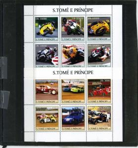 ST.THOMAS & PRINCE 2003 RACING CARS & MOTORCYCLES 2 SHEETS OF 6 STAMPS MNH