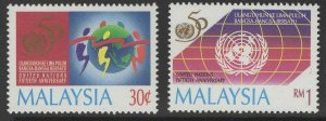 MALAYSIA SG579/80 1995 ANNIV. OF UNITED NATIONS MNH