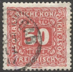 AUSTRIA 1916  Sc J56  50h Postage Due Used  VF  light cancel