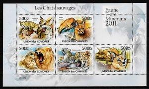 Comoro Islands MNH S/S Savage Cats 2011