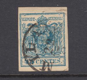 Lombardy-Venetia Sc 6a used. 1850 45c blue Coat of Arms, Type I, MILANO cds