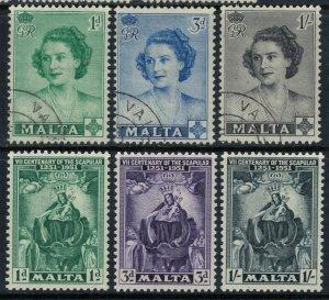Malta #229-31 used, #232-4*  CV $4.90