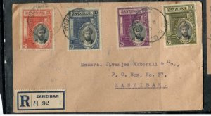 ZANZIBAR COVER (P3006B) 1936 SET OF 4 ON REG LOCAL FIRST DAY COVER