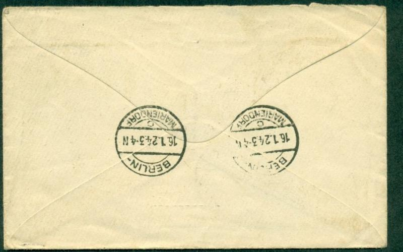 1923, 12¢ Straits Settlements tied SINGAPORE to GERMANY (bkstp)