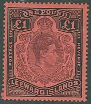Leeward Islands SC# 115c  SG#114b King George VI, p14, 1£, MH