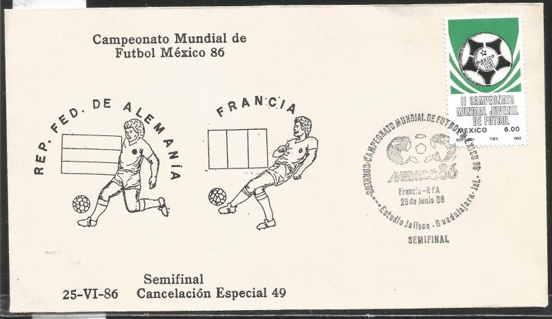 J) 1983 MEXICO, FEDERAL REPUBLIC OF GERMANY-FRANCE, BALL, SPECIAL CANCELLATION,