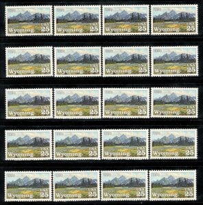 2444 Wyoming Statehood Wholesale Lot Of 20 US Singles Mint/nh FREE SHIPPING