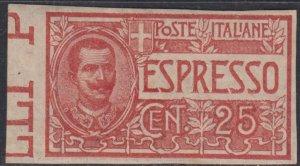 Italy Regno - Sassone Espresso n. 1a cv 400$ unperforated margin sheet  MH*