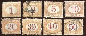 Italy, Scott # J3 - J10, Used.  2019 Scott CV $43.20