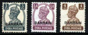 BAHRAIN King George VI 1942-45 Overprinted Stamps of INDIA SG 38, 39 & 47 MNH