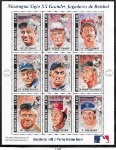 Nicaragua #2168 Baseball  Sheet of 9 (MNH) CV$14.00