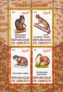 Djibouti Wild Cats Felines Souvenir Sheet of 4 MNH