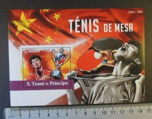St Thomas 2015 table tennis sport zhang jike flags s/sheet mnh