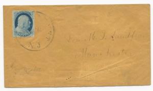 US 19th Century Cover Scott #24 Typle IVa Tied by Black CDS New Market, NJ