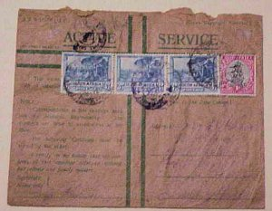 EGYPT   GREEN ENVELOPE SOUTH AFRICA APO40 CENSORED 1944