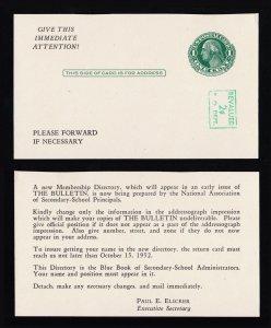 REVALUED POSTAL CARD 2¢ ON 1¢ GREEN SCOTT #UY14 PREPRINTED UNUSED 1952