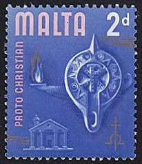 Malta # 315 no gum ~ 2p Lamp, Roman Temple, Chrismon