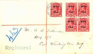 Turks & Caicos Is. 1d KGV Overprinted War Tax (5) 1919 Turks Islands Register...