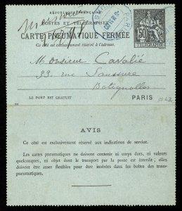 fr007 France Carte Pneumatique Fermee used Paris 1900
