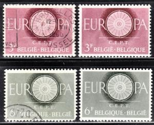 Belgium Scott 553-54  complete sets F to VF mint & used. Mint stamps are hinged.
