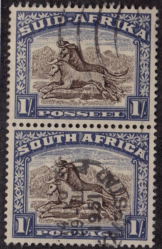SOUTH AFRICA Used Scott # 62 Animals pair Perf 14 x 14 (2 Stamps) -2
