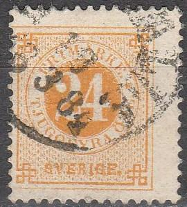 Sweden #34  F-VF Used CV $30.00  (S6443)