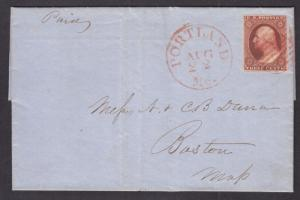 US Sc 10A on 1851 cover Portland-Boston, red CDS & grid, XF