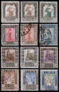 Libya - Italian Scott 20-31 (1921) Mint/Used H F-VF, Complete Set, CV $407.45 B