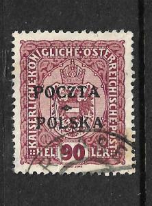 POLAND 1918-19 90h RED VIOLET FU Sc 50