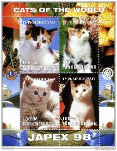 Turkmenistan 1997 Cats-lions-Rotary Emblem s/s Perforated