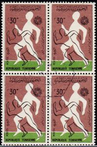Tunisia - 1963 - Scott #437 - used blk of 4 - Sport Running