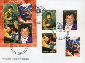 Somalia 2004 JACKIE CHAN MARTIAL ARTIST set + sheet Perforated in FDC