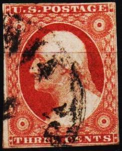 U.S.A. 1851 3c S.G.13a Fine Used