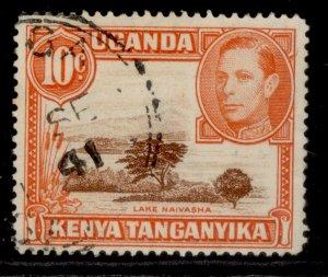 KENYA UGANDA TANGANYIKA GVI SG134b, 10c red-brown & orange, FINE USED. PERF 14