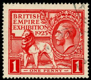 SG432, 1925 1d scarlet, FINE USED. Cat £30.
