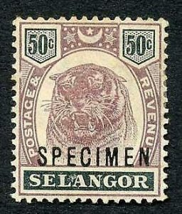 Selangor SG59s 50c Opt Specimen (M/M Hinge remainders and brown gum)