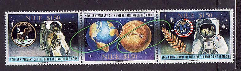 Niue-Sc#571-unused NH strip of 3-Space-1st Landing on the Mo