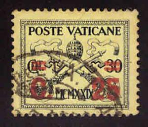 Vatican City Scott 14 Used 1931 surcharged  stamp
