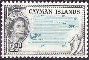 CAYMAN ISLANDS 1954 2.5d Turquoise-Blue & Black SG153 MH