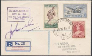 NEW ZEALAND 1955 Stamp Exhibition Christchurch reg cover & cancel...........L295