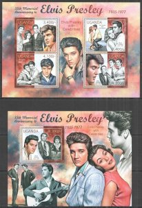 UG050 2012 UGANDA ELVIS PRESLEY WITH CELEBRITIES MUSIC #2849-2+BL385 MNH