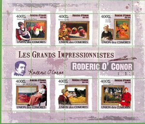 A0371  - COMORES Comoros -  MISPERF 2009  stamp SHEET: Art RODERIC O'CONOR