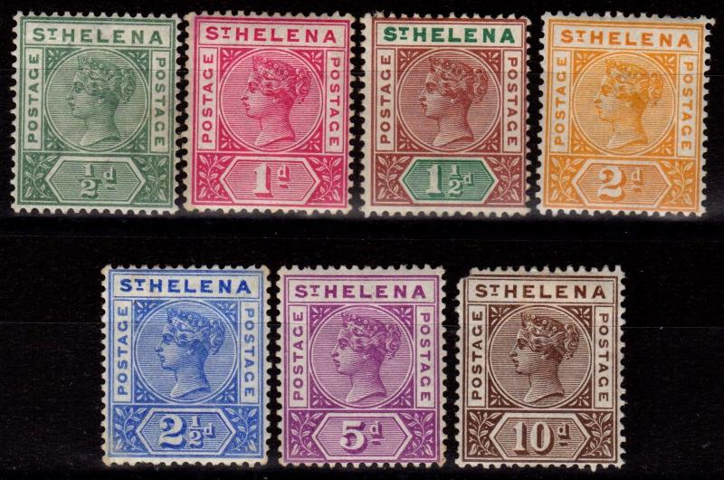 St Helena 1890-97 set of 7 SG46-52 Lightly Mtd Mint (perf fault on 10d)