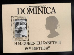 DOMINICA Scott 953 MNH** 1988 QE2 60th B-day souvenir sheet