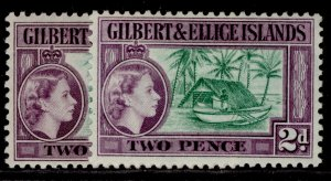 GILBERT AND ELLICE ISLANDS QEII SG66 + 66a, 2d SHADE VARIETIES, M MINT. Cat £41.